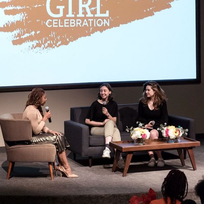 Sophie Houser and Aija Mayrock speak on a panel at IDG event at Fossil Group in Texas